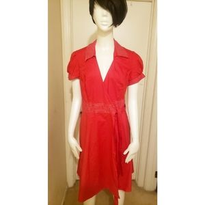 Speechless Red with with stitching Wrap Dress